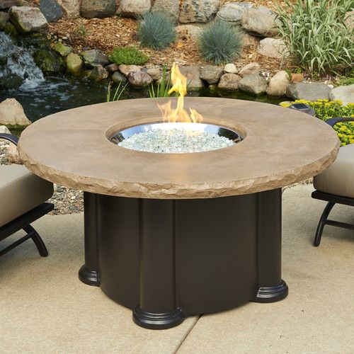 Outdoor Greatroom Colonial Chat Height Fire Pit Table W/ Mocha Top