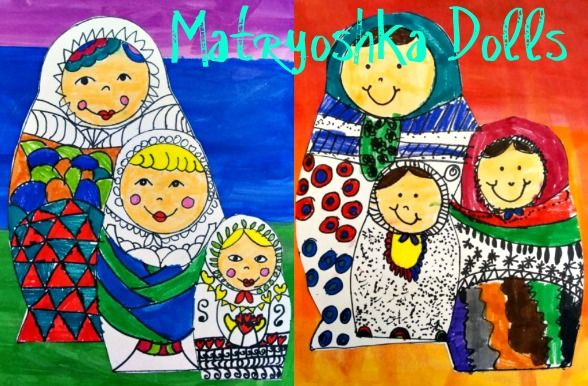 Matryoshka dolls- This is a great lesson kids can learn about line and pattern and warm and cool colors