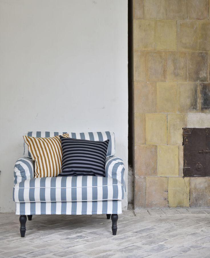 Summer Stripes | IKEA Stocksund armchair cover in Mineral Blue/Soft White Stockholm Stripe. Cushion covers in Mandarin Orange Gotland Stripe and Zinc Grey/Jet Black Stockholm Stripe. www.bemz.com