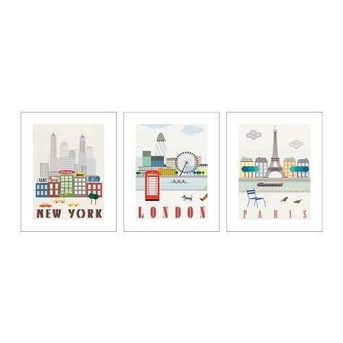ikea poster set of 3 16x20 new york london paris new ebay decorating pinterest discover. Black Bedroom Furniture Sets. Home Design Ideas