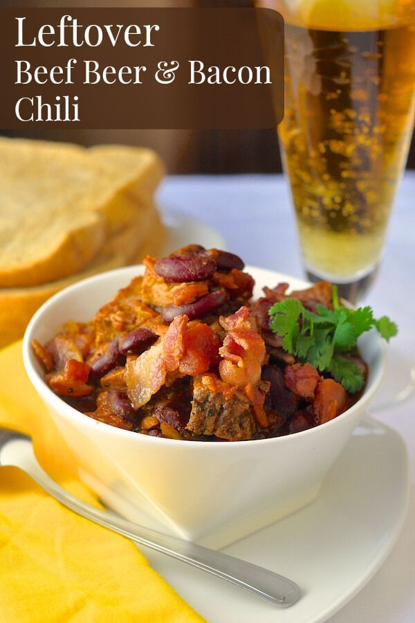 Prime Rib Beer Bacon Chili - a leftover luxury meal. If you have leftover roast beef, this is one way I turn it into another complete flavourful meal. Great for the slow cooker too.