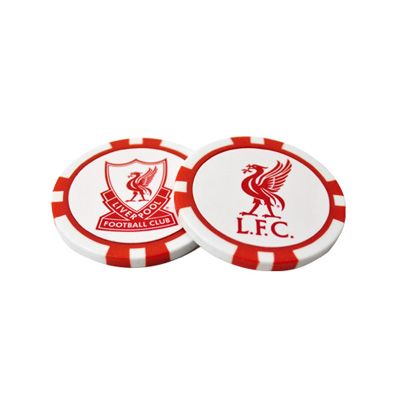 Liverpool golf ball marker in the style of a poker casino chip, double-sided, in full colour and featuring the club crest. FREE DELIVERY on all of our gifts