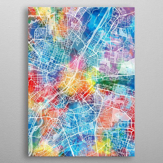 Munich City Map Inspired By Watercolor Decorative Artistic Pop Art Design Metal Poster Pop Art Design Art Design Metal Posters