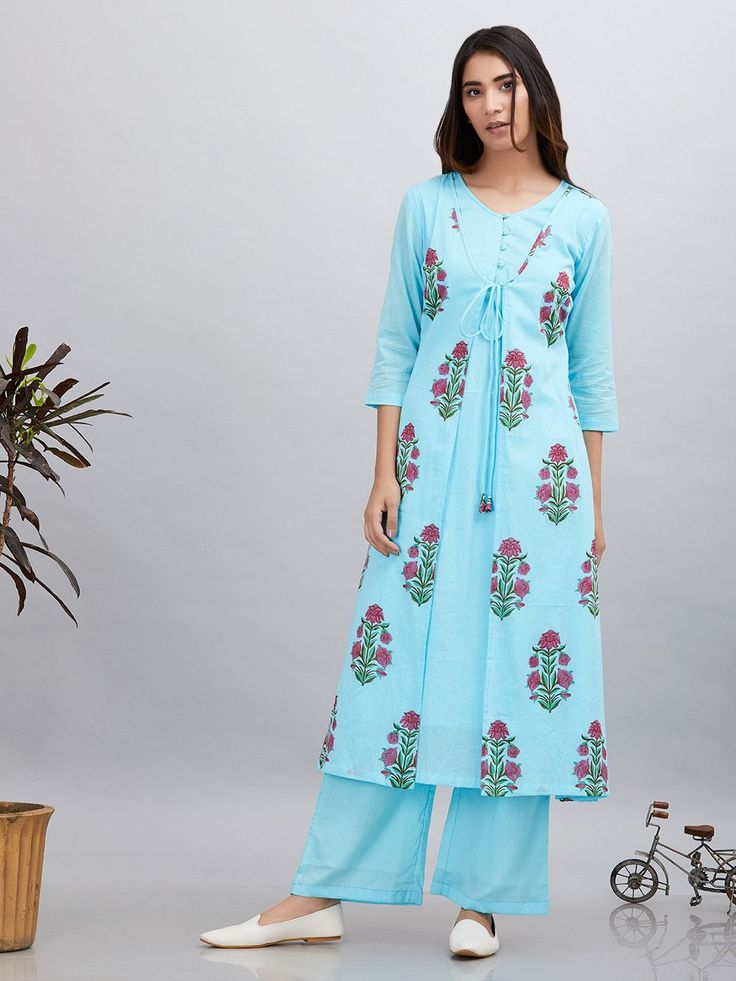 Jan 27, 2020 - Buy Blue Pink Block Printed Cotton Mulmul Jacket Kurta with Palazzo - Set of 2 online at Theloom