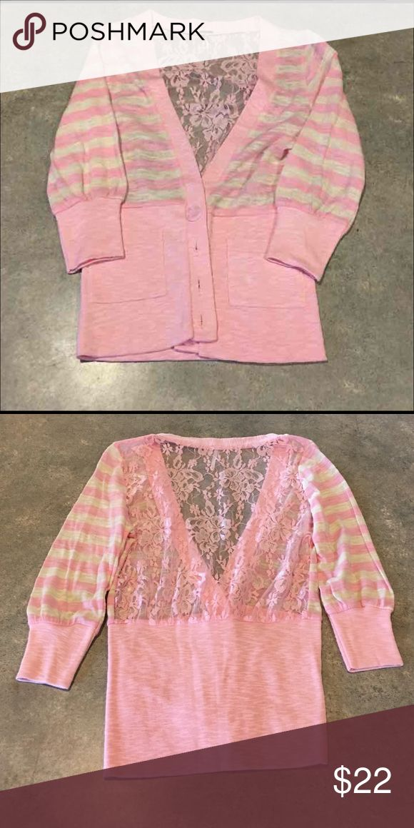 Soft pink cardigan Light pink cardigan with lace back and 3/4 sleeves. Poof brand size small. NWOT Poof! Sweaters Cardigans