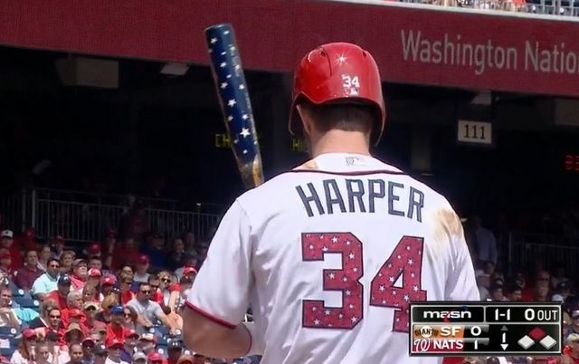Bryce Harper went deep with a patriotic bat on Saturday.