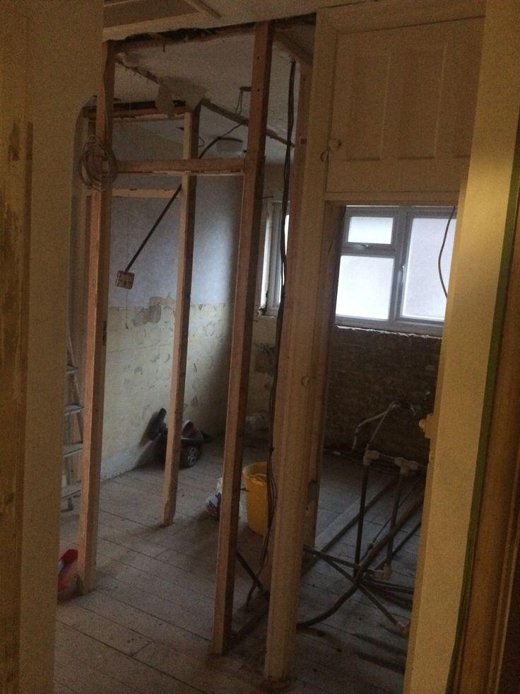 Bathroom under construction August 2014