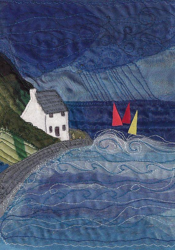 Runswick Bay Yorkshire Textile Art