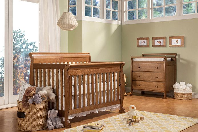 Kalani 4-in-1 Crib features gentle curves and sturdy construction that can be converted for use as a toddler bed, day bed and full-sized bed. Constructed from 100% natural solid New Zealand pine wood, this GREENGUARD Gold Certified crib makes a safe and eco-friendly sleep haven for your little one. Available in white, chestnut, cherry, honey oak, ebony, espresso or grey <3!!!