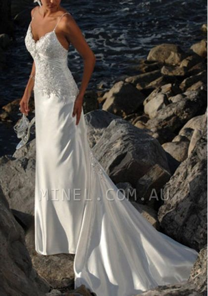 Sheath With Lace Backless V-Neck Wedding Dresses - 1650238 - Beach Wedding Dresses