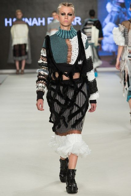 Outfit 3 - Knit, hand knitted rope, weave, knitted bin liners and appliquÉ