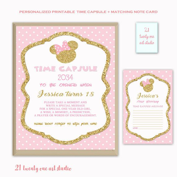 Minnie inspired Time Capsule Sign Pink and Gold Time Capsule
