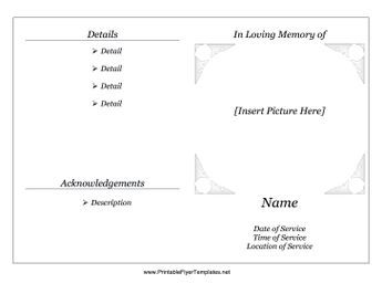 This free, printable memorial service pamphlet folds in half and can be used for funerals, wakes and receptions that honor the dead. Free to download and print