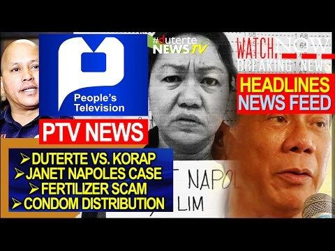 KORAP IHUHULOG SA DAGAT: DUTERTE LATEST NEWS TODAY | PTV NEWS LIVE - DECEMBER 28, 2016 - WATCH VIDEO HERE -> http://dutertenewstoday.com/korap-ihuhulog-sa-dagat-duterte-latest-news-today-ptv-news-live-december-28-2016/   Welcome to my channel.  You are in a 'one-stop-news-channel'! NEWS TV is a place where you can find news updates and latest trends in the Philippines. We grab the best stuffs and reupload here.  What's new in politics, entertainment, culture, l