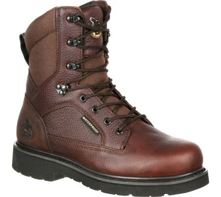 Georgia Boot Men's GB00060 Glenville 8' Work Boot Brown Full Grain Leather Size 9.5 W