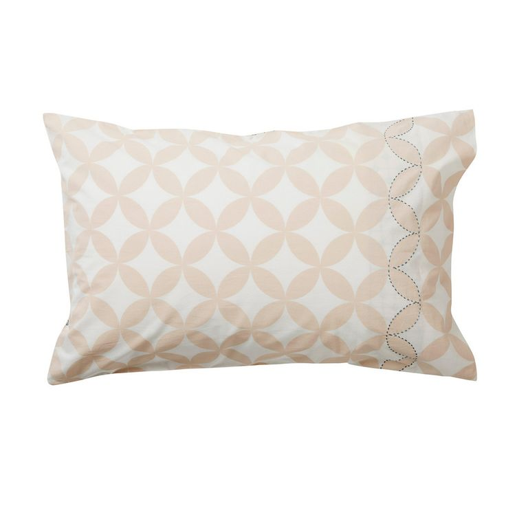 Reversible Printed Blush Pillowcase with Embroidery