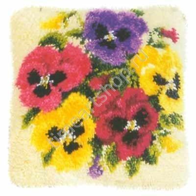 букетик с анютиными глазками, чехол для подушки цена 1140 руб