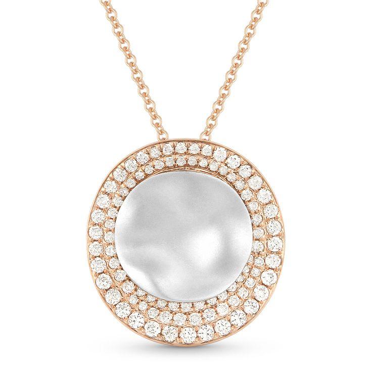0.51ct Diamond & Hammered Centerpiece Statement Pendant & Chain Necklace in 14k Rose & White Gold - AlfredAndVincent.com