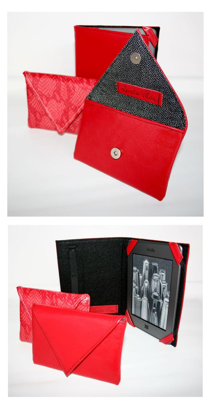 La vie en rouge - Mini purse + Leather cover for kindle // 100% Leather
