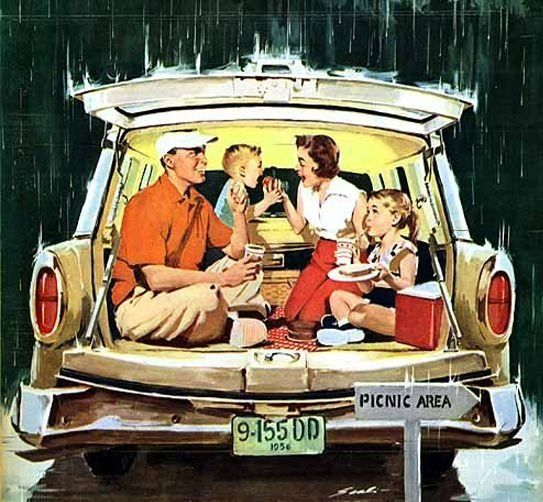 """Station Wagon Picnic,"" ~ Illustrated by Mauro Scali, detail from American Weekly Magazine cover, June 24, 1956."