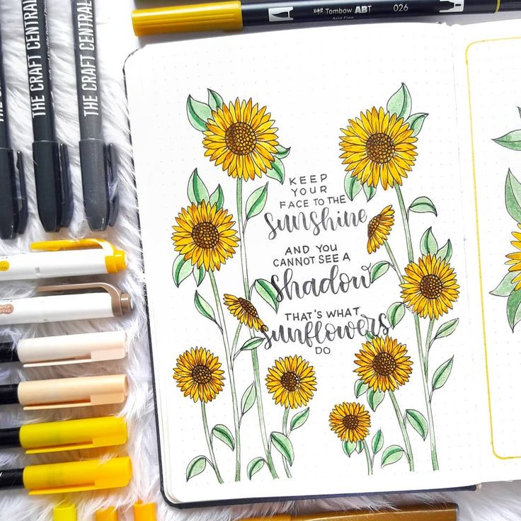 More sunflower doodles for July 🌻🌻🌻 keep your face to the sunshine but …