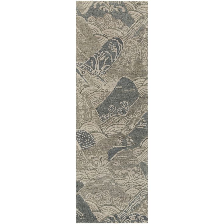 """The Surya Banshee Hills rug presents a detailed focal point to contemporary dwellings. Inspired by Asian aesthetics, this landscape motif in a modern colorway lends a stunning graphic statement. A hard twist texture and viscose accents offer an unmatched luxe feel. Available in Gray, Blue, and Charcoal; 60% Wool/40% Viscose; Cotton canvas backing; Low pile; Many sizes available; Rug pad recommended; 2'W x 3'L; 3'3""""W x 5'3""""L; 5'W x 8'L; 8'W x 11'L; 2'6""""W x 8'L"""