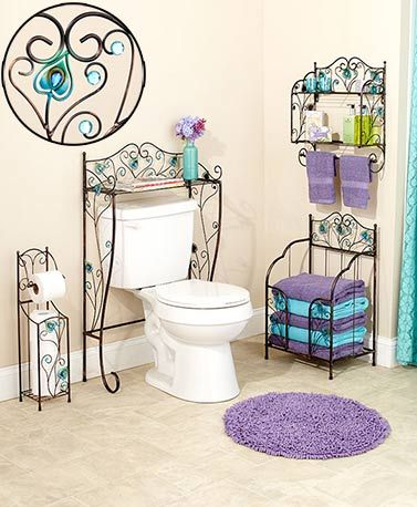 Decorate your bath with beautiful splashes of exotic hues with this Jeweled Peacock Bathroom Collection. Use the Space Saver to make the most of empty space abo