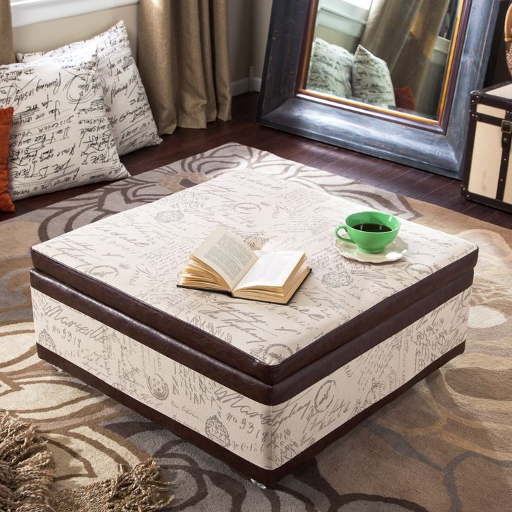 Corbett Leather and Linen Coffee Table Storage Ottoman - Coffee Table Ottomans at Ottomans