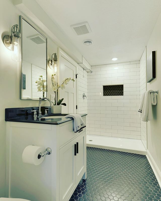 Still Smitten With This One For Tiletuesday Adding Baths To A Home Is One Of The Surefire Ways To Add V Tile Bathroom Black Interior Design Amazing Bathrooms