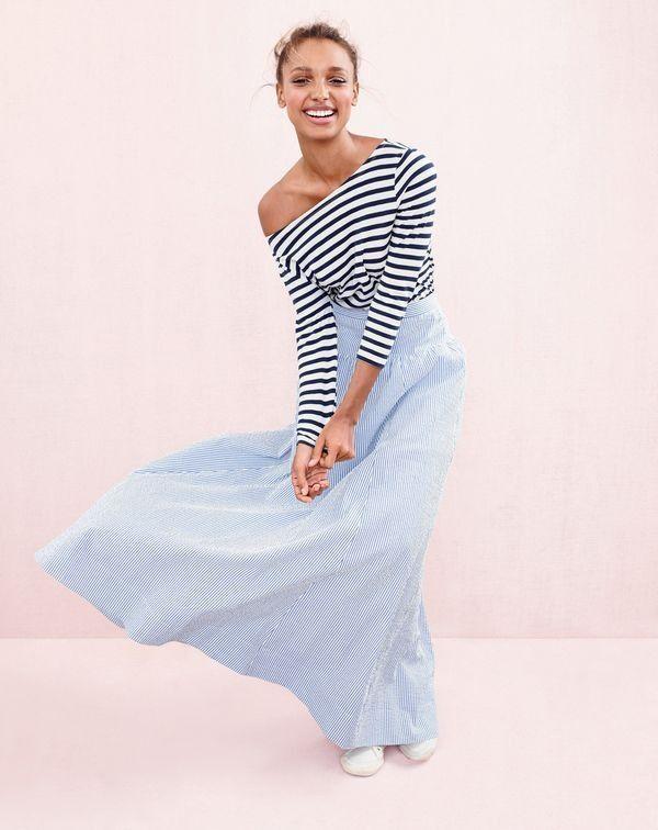 J.Crew women's striped boatneck T-shirt, seersucker ball skirt and Tretorn® canvas T56 sneakers.