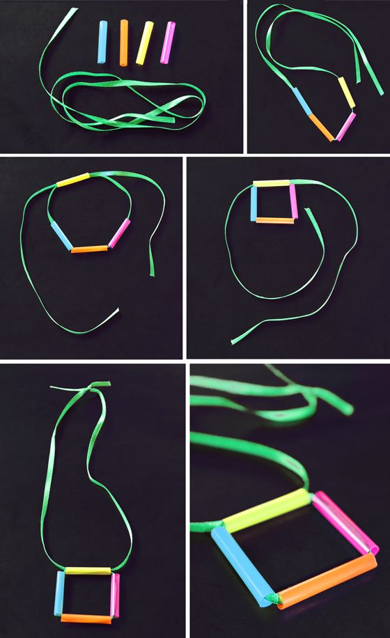 How to make drinking straw necklace. Square geometric shapes, neon colors drinking straw craft activities for family, toddlers to teens, or as a classroom or homeschool art project. #craftactivity #drinkingstraws #diycrafts https://happythought.co.uk/craft/drinking-straw-necklace