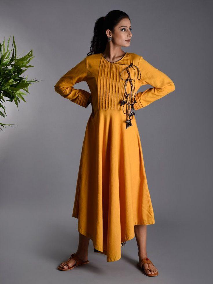 Yellow Khadi Cotton Angrakha Dress
