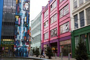 The Custard Factory area of Digbeth in Birmingham, which houses many indipendant creative businesses.