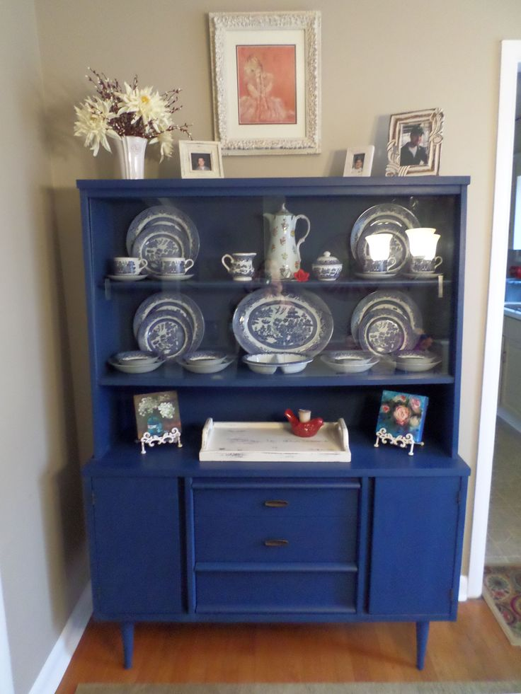Mid Century Modern Buffet Painted With Annie Sloan Chalk Paint Napoleonic Blue