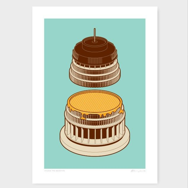 Inside The Beehive Art Print by Glenn Jones NZ Art Prints, Design Prints, Posters & NZ Design Gifts | endemicworld