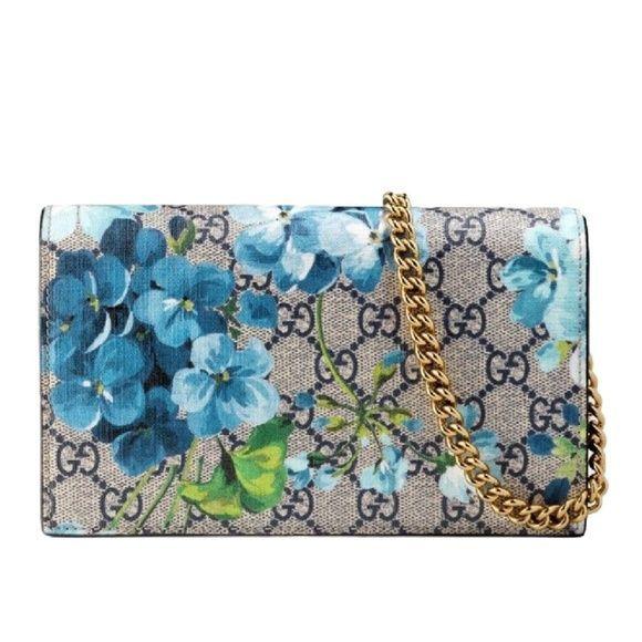 Gucci Handbags Gg Supreme Blooms Mini Chain Wallet Woc Crossbody