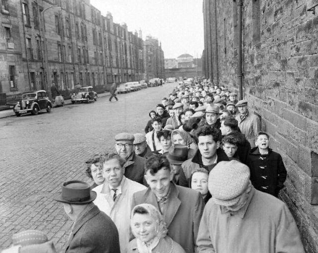 1958 fans ticket queue. Tynecastle Stadium, Hearts.