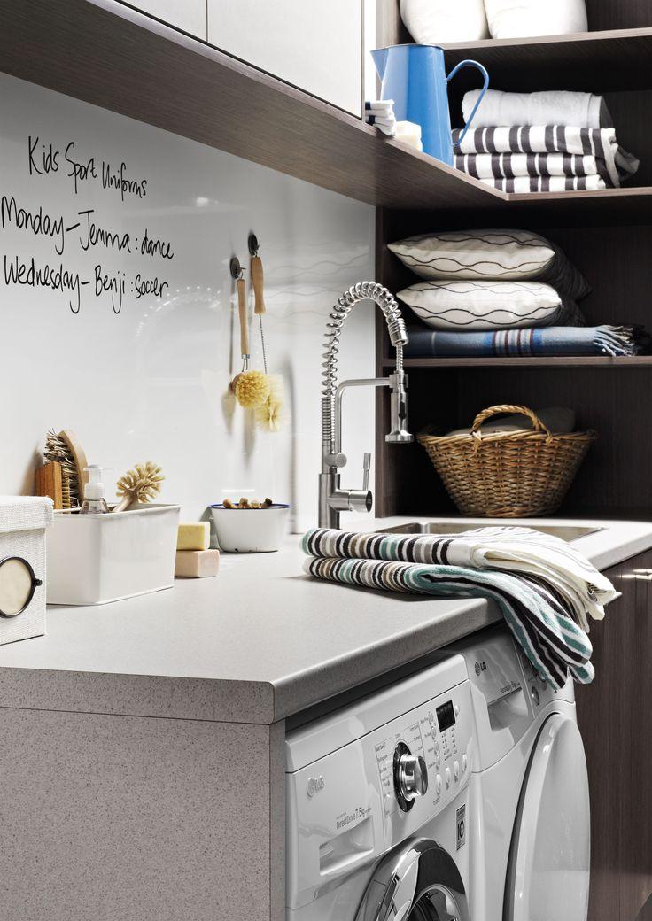 Nice Laundry With Dry Erase Backsplash Made Of Magnetic Whiteboard Laminate