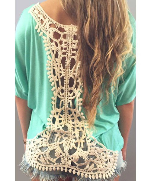 Cut Out Crochet Women's T-Shirt