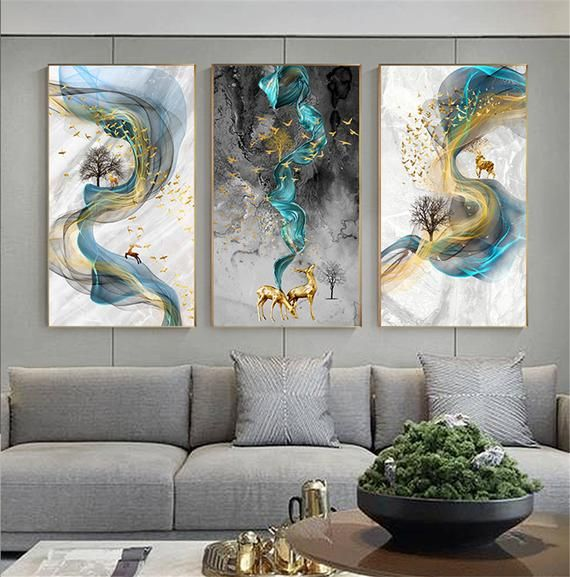 Abstract Golden Deer Painting Big Size Poster Blue Print Gold Wall Art Picture F Living Room Modern In 2020 Gold Wall Art Wall Art Pictures Abstract Wall Art #vertical #paintings #for #living #room
