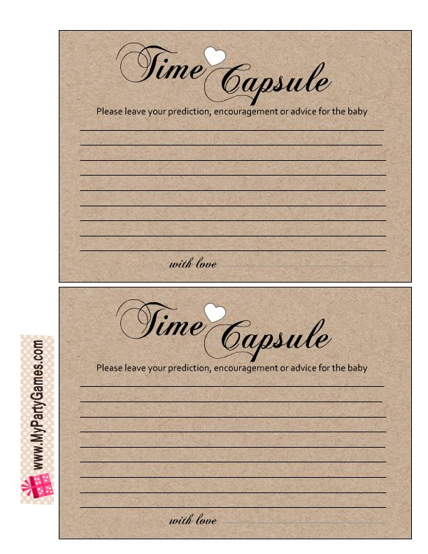 Free Printable Cards For Baby Time Capsule Free
