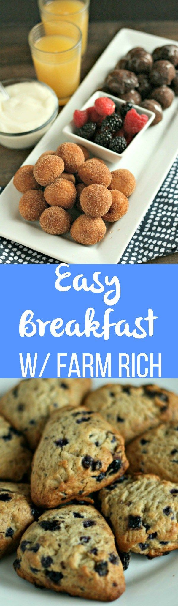Simplify breakfast with ready-to-make Donut Holes, Blueberry Scones and more all found in the freezer section! #FarmRichBakery
