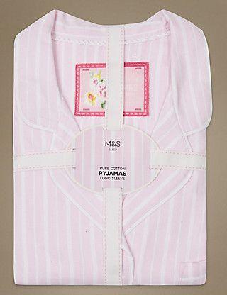 Pure Cotton Striped Long Sleeve Pyjama Set | M&S