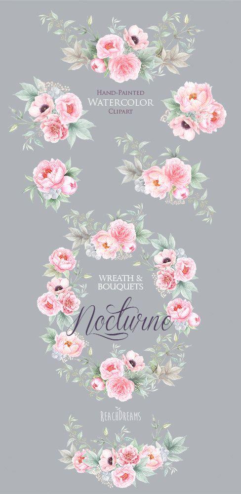 Acuarela flores de peonías anémona gráfico pintado a mano