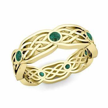 celtic weave with emeralds