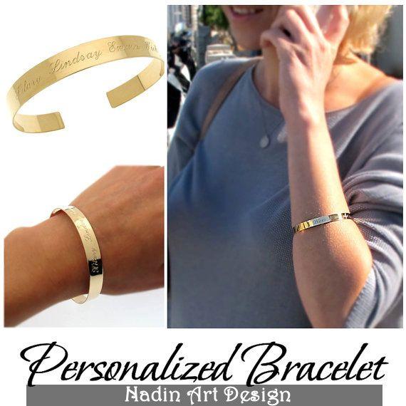 Graviertes Goldarmband / Personalisierter Schmuck von NadinArtDesign auf DaWanda.com