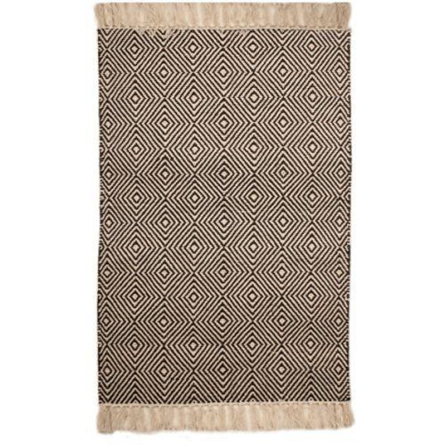White Cotton Floor Rug With Black Diamond Design - Floor - Product - Trade Aid