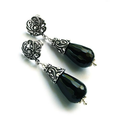 Onyx, dark silver, Art Nouveau.