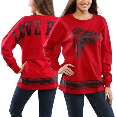 pink by victorias secret atlanta falcons womens red varsity stripe crew neck pullover sweatshirt