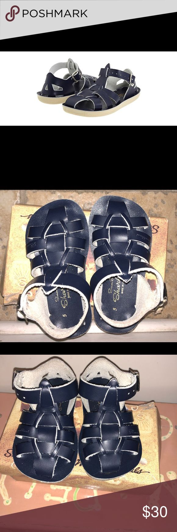 Brand New!!!!! Sun sans Sharks-navy size 5 toddler Salt water sandals by Hoy. Brand new ( only out of box for pictures) never even tried on. Beautiful navy sandals-perfect for Easter, spring, or summer! Size 5 in toddler. Salt Water Sandals by Hoy Shoes Sandals & Flip Flops